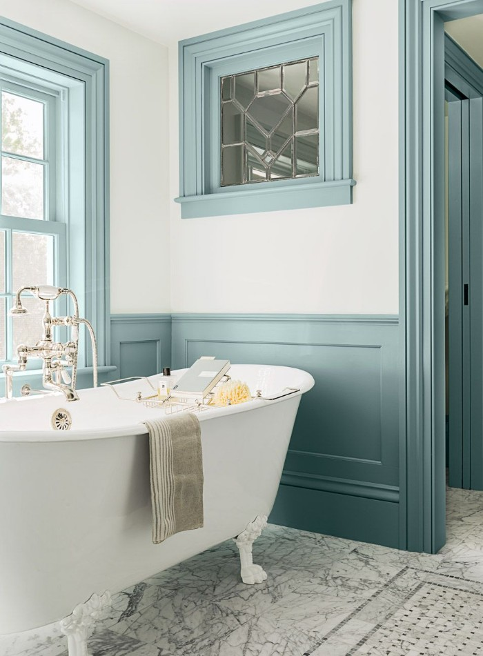 duck's egg blue wooden paneling, on the white walls of a bathroom, with a clawfoot bathtub, bathroom paint colors, smooth marble floor