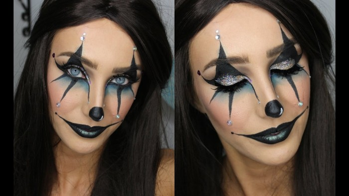 big smile painted in black, on the face of a young woman, wearing black and pale blue harlequin makeup, seen from two angles