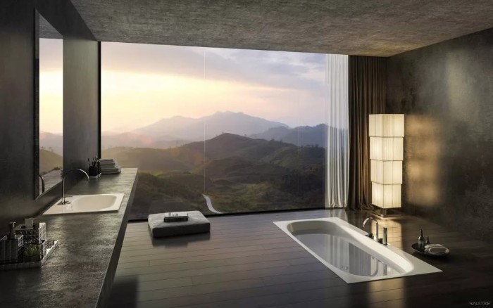 mountain view visible from a large window, modern minimalistic bathroom, with an inbuilt tub, black wooden floor, and a white sink, bathroom remodel pictures, dark grey ceiling