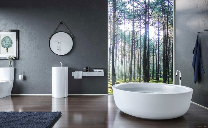 fluffy dark grey carpet, and grey walls, in a room with laminate floor, containing a round white bathtub, and a window with a woodland view, bathroom picture ideas, modern sink and a mirror