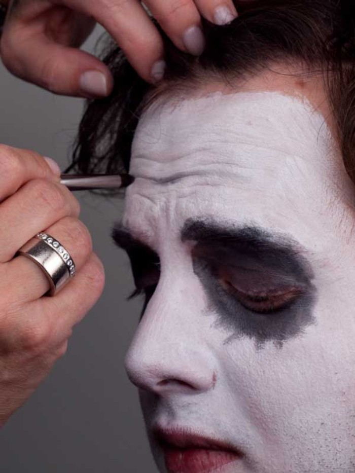 forehead wrinkles drawn with dark grey paint, on the face of a man, wearing white makeup, and grey eyeshadow, clown face paint, easy halloween ideas