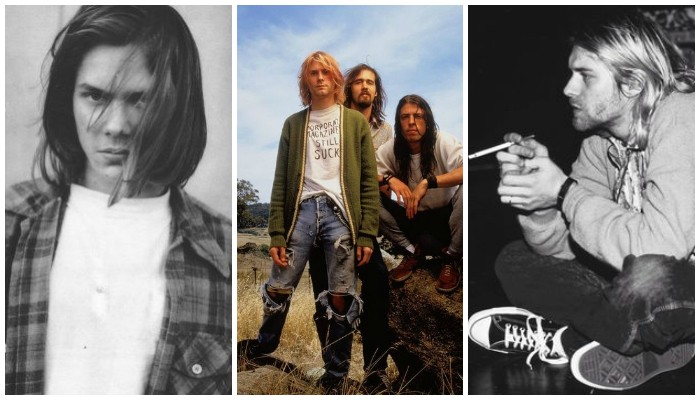 icons of grunge in the 90s, three photos showing river phoneix, a group shot of nirvana, 90s bands and celebrities, black and white image of kurt cobain