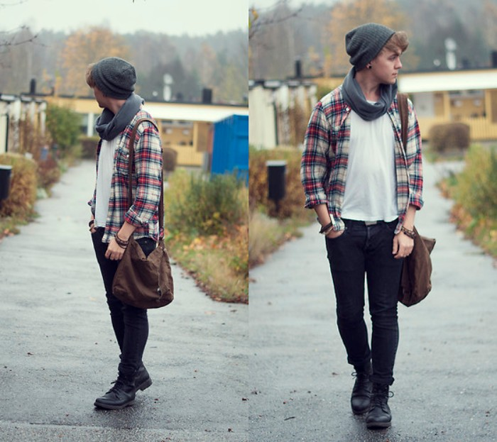 teenage boy dressed in black skinny jeans, and a plaid shirt, over a white t-shirt, 90s grunge outfit, grey tube scarf, beanie hat and black combat boots