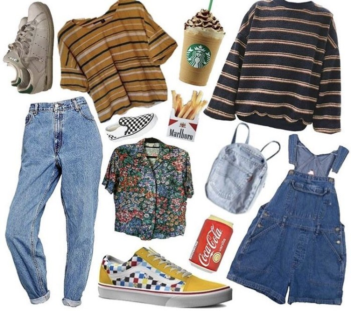 dungarees made from medium blue denim, a striped t-shirt and jumper, multicolored floral shirt, acid wash jeans, and other items, grunge girl inspiration