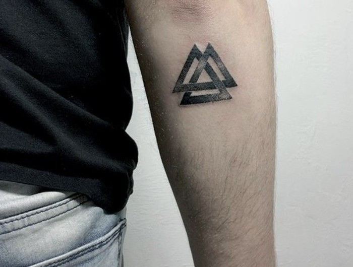 valknut tattoo in black, three intersecting triangles, a symbol of the nordic god thor, small meaningful tattoos