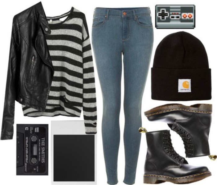 stonewash skinny jeans, in light blue, black leather biker jacket, striped jumper in black and light grey, combat boots and a beanie hat