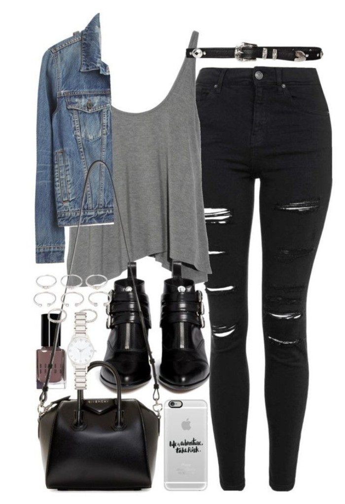 waterfall style tank top, in pale grey, ripped black skinny jeans, cropped blue denim jacket, patent leather ankle boots in black, grunge girl wardrobe, black leather bag and accessories