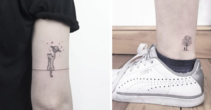 two images showing examples of small meaningful tattoos, a cat playing with a planet, and person, standing under a tree