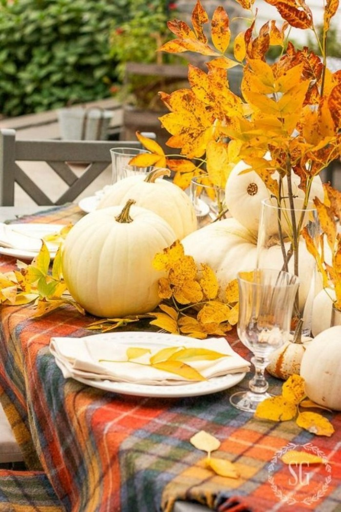 blue and grey, red and orange plaid tablecloth, on a table, decorated with white pumpkins, and yellow fall leaves, white plate and napkin, glass and vase
