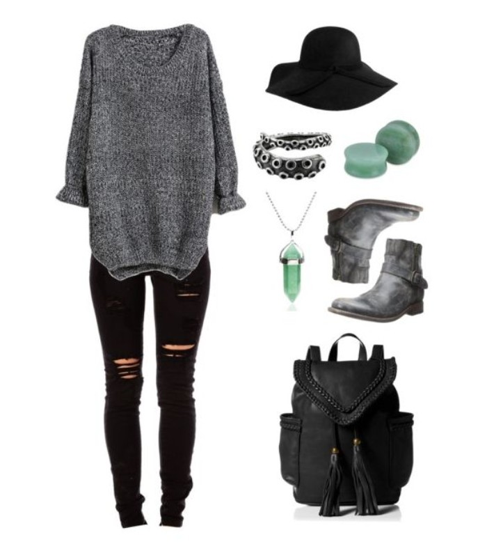 grunge girl inspired outfits, ripped black skinny jeans, oversized grey jumper, black felt hat, grey ankle biker boots, black leather backpack, and assorted jewelry