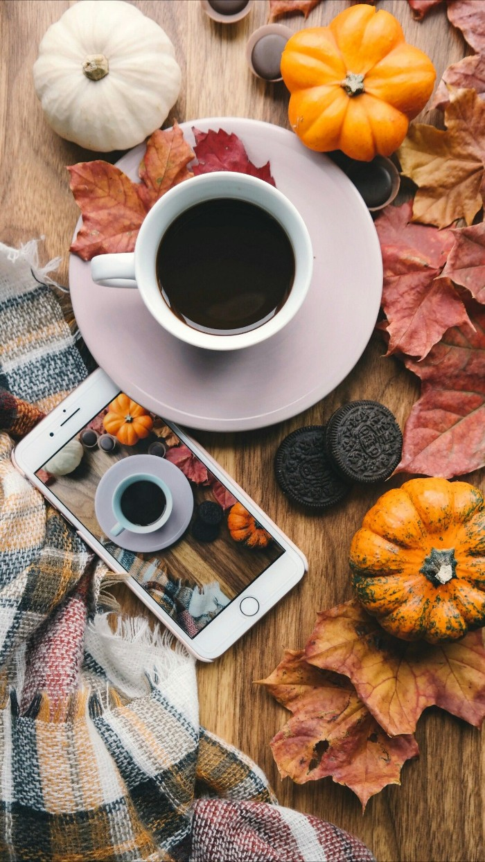 black coffee in a white cup, placed on a white saucer, and surrounded by dry fall leaves, three small decorative pumpkins, and some oreo biscuits, happy thanksgiving wishes, smartphone and scarf nearby
