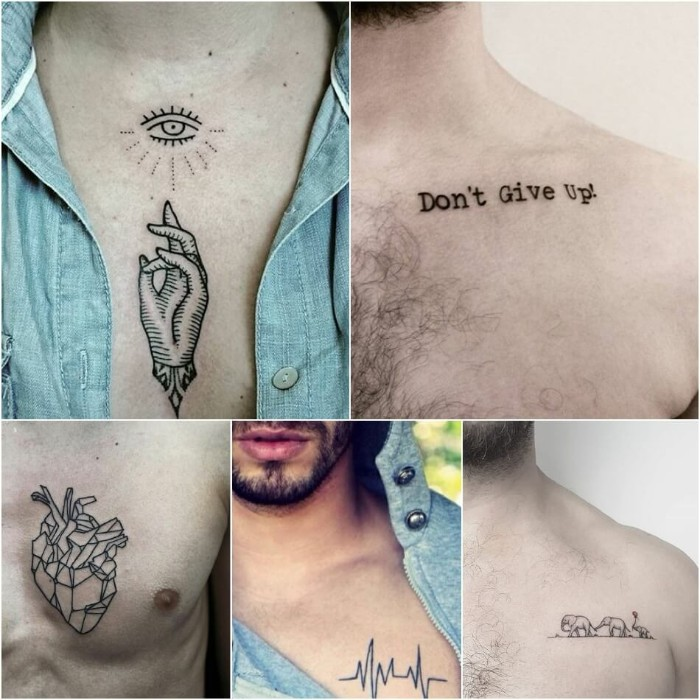 five examples of small meaningful tattoos, the all-seeing eye of god, a geometric line art heart, a life line, elephants and an inspirational quote
