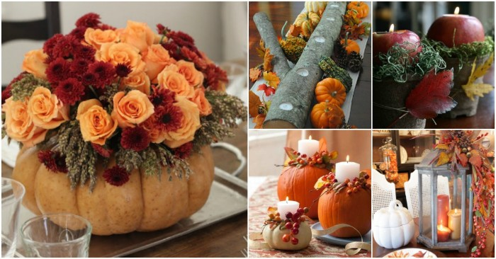 five images showing, different thanksgiving table decoration ideas, pumpkin with red and orange flowers, apple candle holders, lanterns and centerpieces