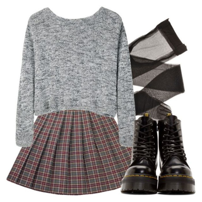 lace up black leather combat boots, plaid skirt in grey and dark red, grunge definition, sheer black tights, and a shirt jumper in grey marl