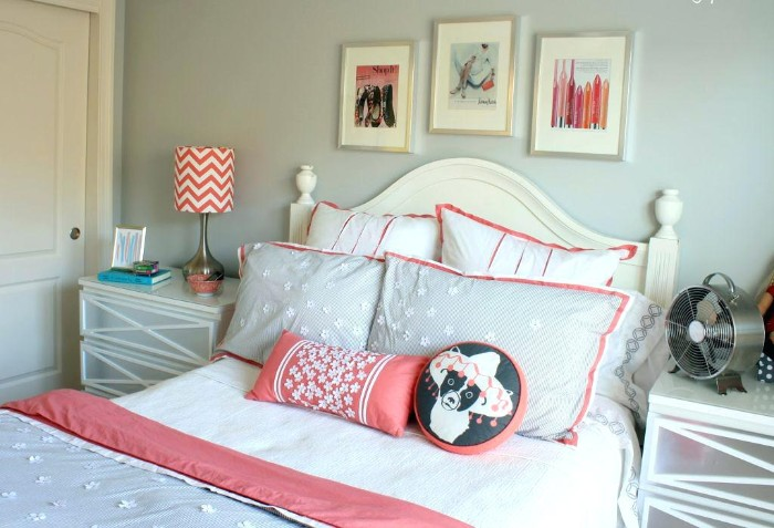 cool beds for teens, pillows and cushions, decorating a single bed, with a white wooden headboard, pale grey wall, with three framed images