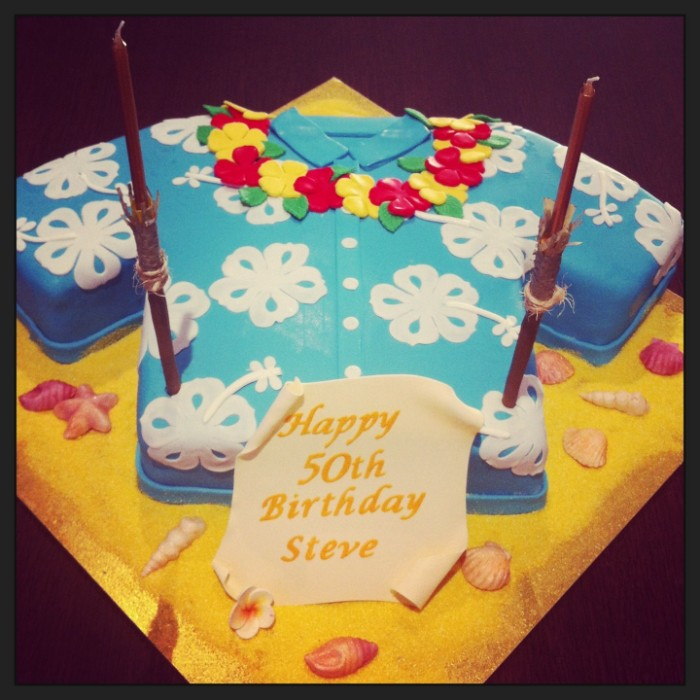 Cake Shaped Like A Shirt Pale Blue With White Floral Hawaiian Style Print Creative 50th Birthday Party