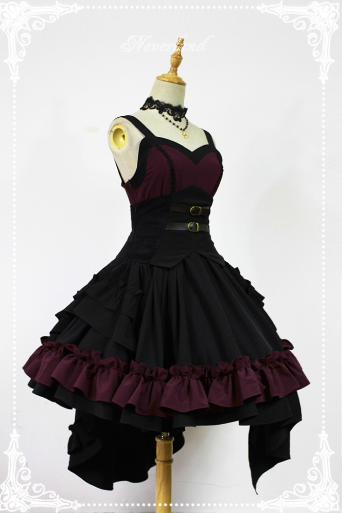 belted corset detail, on a strappy dress, with a full skirt and frills, in purple and black, define lolita, pale grey background