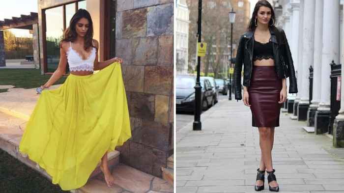 two images showing women, wearing lace bralettes and skirts, white bralette and a floaty, yellow maxi skirt, bralette outfit, black leather biker jacket, dark purple leather pencil skirt, and a black bralette