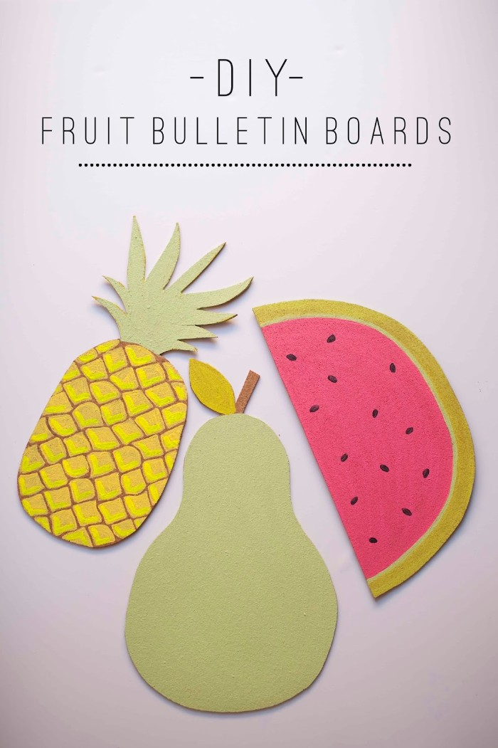 cork bulletin boards, shaped like a pineaple, a pear and a slice of watermelon, and painted in yellow, pale green and pink, cheap ways to decorate a teenage girl's bedroom, diy fruit bulletin boards, written in black