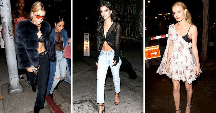 celebritied wearing black bralettes, with dark blue jeans, and a black fur coat, with light blue jeans, and a long, sheer black top, what is a bralette, with a white dress, featuring floral motifs
