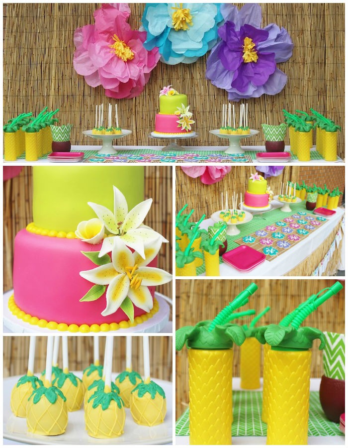 organizing a hawaiian-themed birthday party, cake in hot pink and lime green, decorated with realistic lilies, made from fondant, large paper wall decorations in pink, blue and violet, 50th birthday colors, drinks and sweets decorated like pineapples