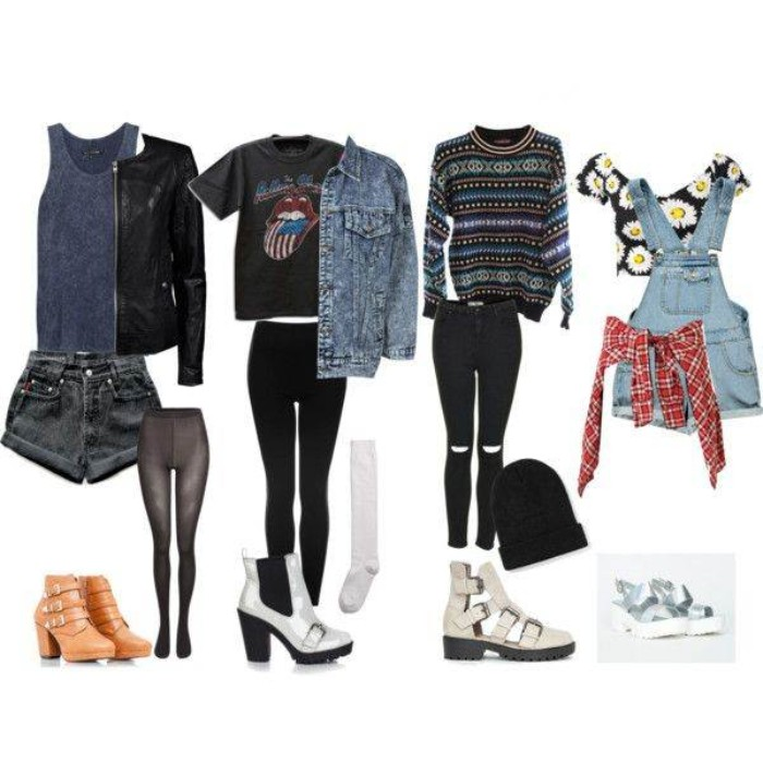 90s grunge clothing, in four examples, black denim shorts, with a dark grey tank top, and a black leather jacket, light blue denim dungarees, with a floral cropped top, and a red plaid shirt around the waist, and other ideas