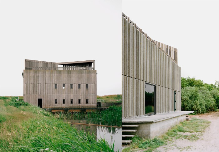 river pumping stations, renovated with designs by johansen skovsted, two concrete buildings, with rectangular windows, brutalist art