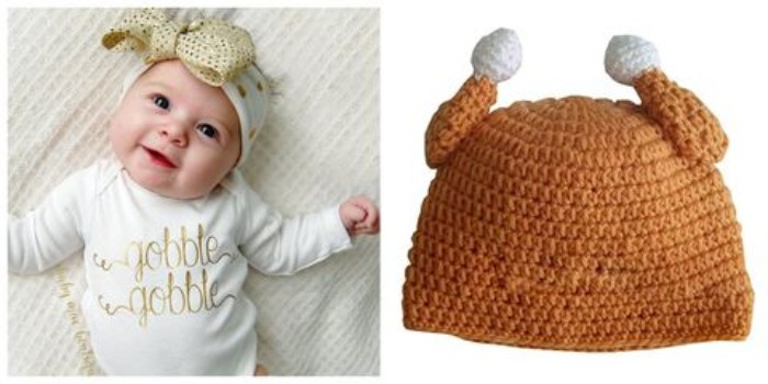 gobble gobble printed in gold, on a white onesie, worn by a smiling baby, with a white and gold headband, featuring a large bow, baby's first thanksgiving outfit, next image shows a knitted hat, resembling a roast turkey