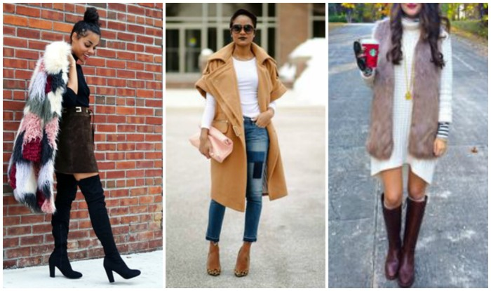 patchwork faux fur coat, worn with a black mini dress, and over-the-knee boots, short sleeved beige coat, over jeans and a white t-shirt, and a faux mink fur gilet, on top of a white jumper dress