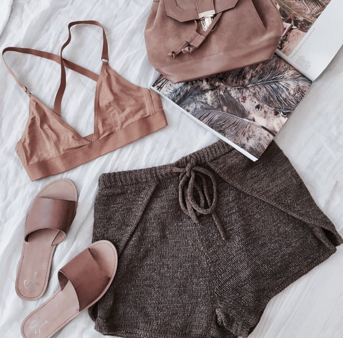 summer outfit idea, light brown bralette, and brown knitwear shorts, what is a bralette, leather sliders and a brown backpack