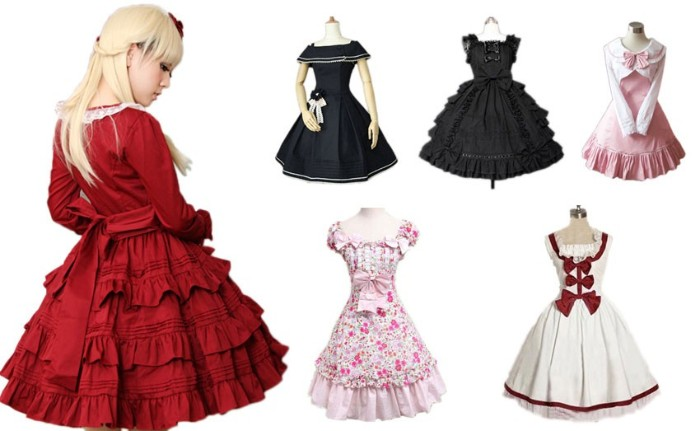six different lolita dresses, in dark navy and black, pink and white, with patterns and bows and lace trims, define lolita, girl in a blonde wig, wearing a frilly red dress