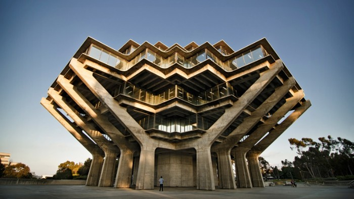 geisel library at the university of california san diego, large angular building, made of grey concrete, with multiple windows, brutalist architecture