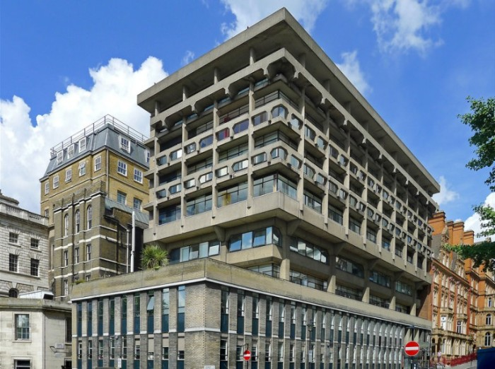 back view of the macadam building, a campus of king's college london, grey rectangular structure, made of concrete