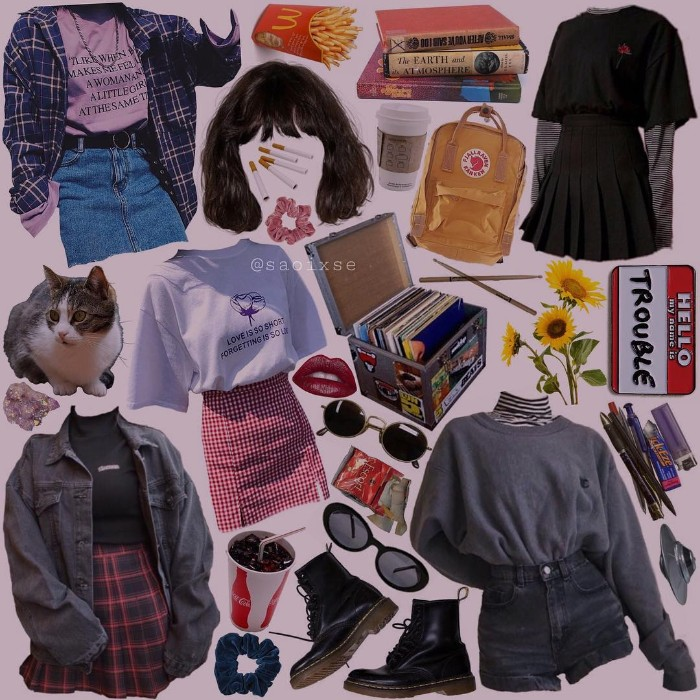 various retro clothes, denim skirt and plaid shirt, dark grey denim high waisted shorts, oversized sweaters and t-shirts, grunge definition, combat boots and a yellow backpack