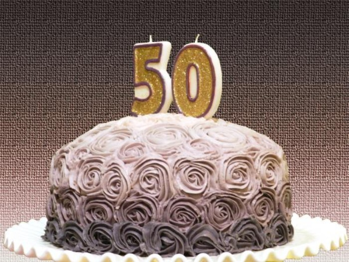 Birthday Cake In Three Shades Of Grey With Frosting Shaped Like Multiple Roses And