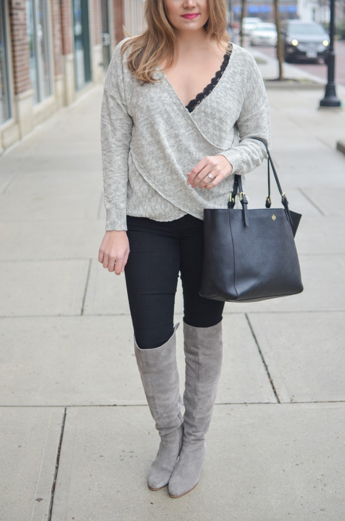outfits with bralettes, over-the-knee light grey suede boots, worn with black skinny jeans, a black bralette, and a pale grey, wrap-effect jumper