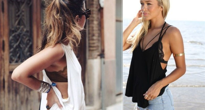 tank tops worn over bralettes, by two slim women, loose white tank top, over a brown bralette, lacy black bralette, under a black oversized tank top