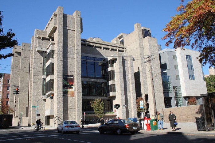 rudolph hall in new haven connecticut, grey concrete building, with multiple windows, and rectangular segments