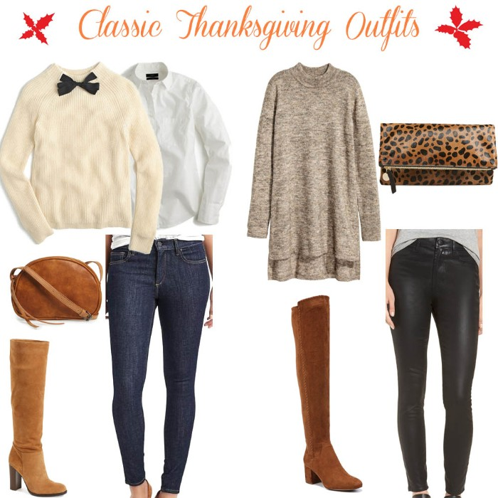 animal print clutch bag, a mink grey melange jumper dress, black leather trousers, and blue skinny jeans, a white shirt and a cream jumper, boots and a brown bag, thanksgiving outfits for women, stylish ideas