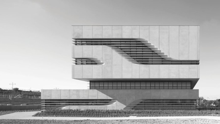 pierres vives building in montpellier france, concrete multi-storey building, with rectangular shapes, and asymmetrical deatils