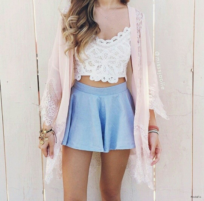 baby blue mini skirt, combined with an embroidered white bralette, and a pale powder pink, open front cardigan, with lace inserts
