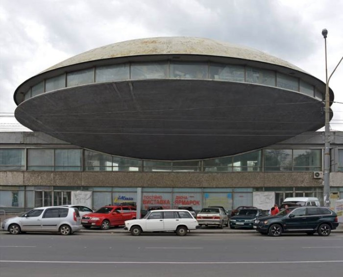 institute of scientific and technical information, in kiev ukraine, saucer-shaped building, with windows going around its middle