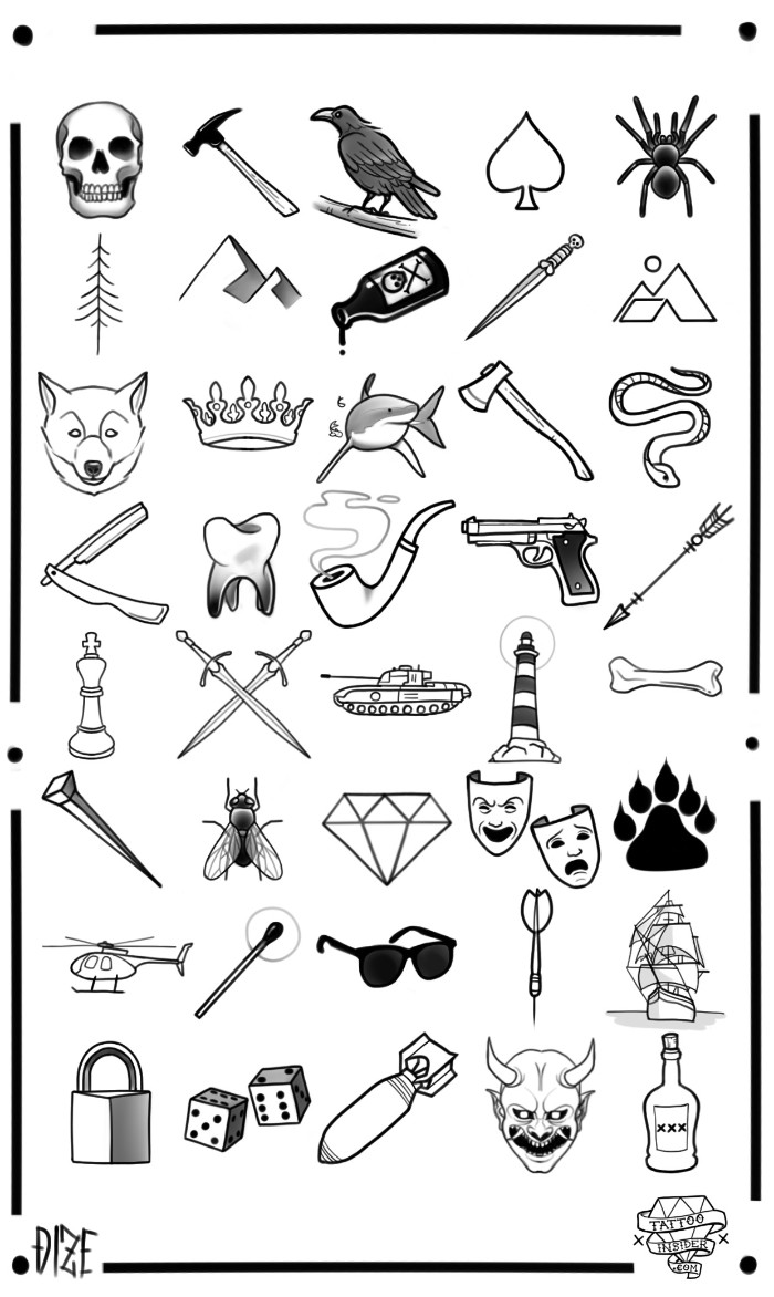 assorted simple and small tattoos for men, drawn in black, on a white template sheet, a skull and a hammer, a crow and a spider, mountains and a wolf, and many more