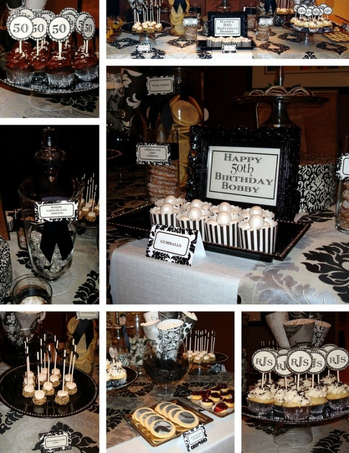 white and black 50th birthday themes, seven images showing bisquits, candies and cupcakes in black and white, decorated with initials and the number 50