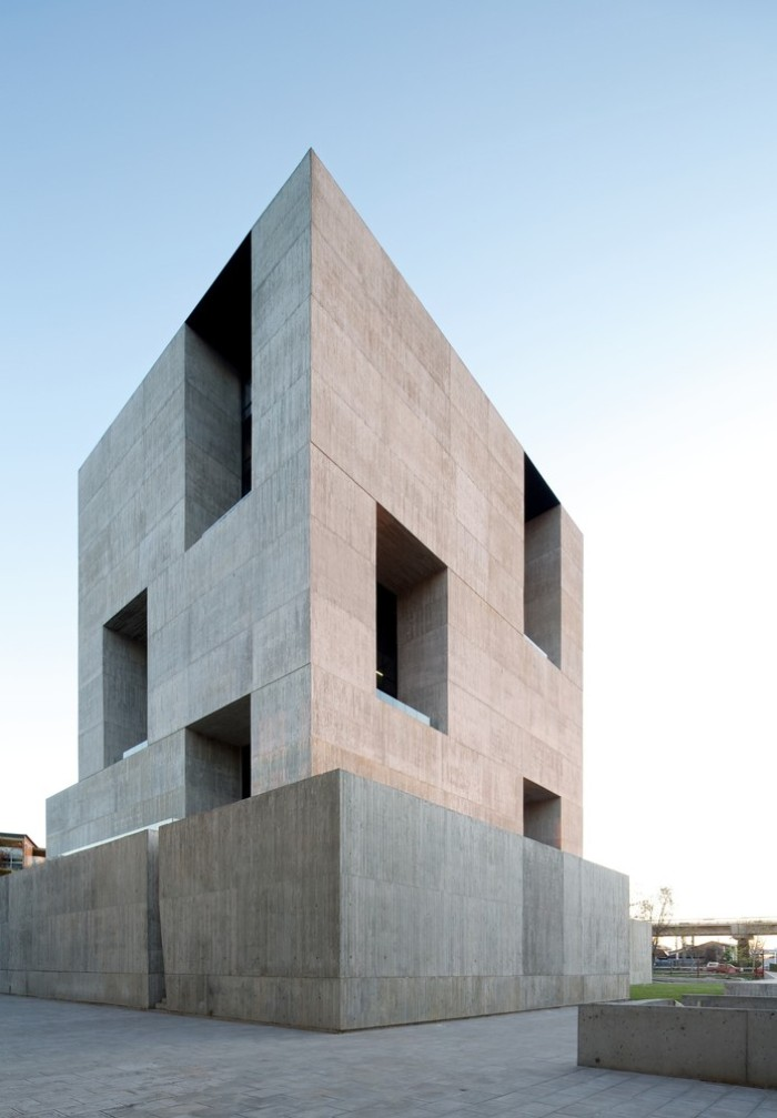 innovation center in santiago chile, concrete architecture with sharp edges, several rectangular windows