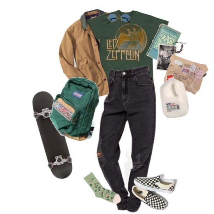 led zeppelin t-shirt in dark green, beige jacket and round sunglasses, dark grey ripped baggy jeans, skateboard and a backpack, balck and white checkered shoes, floral socks and accessories