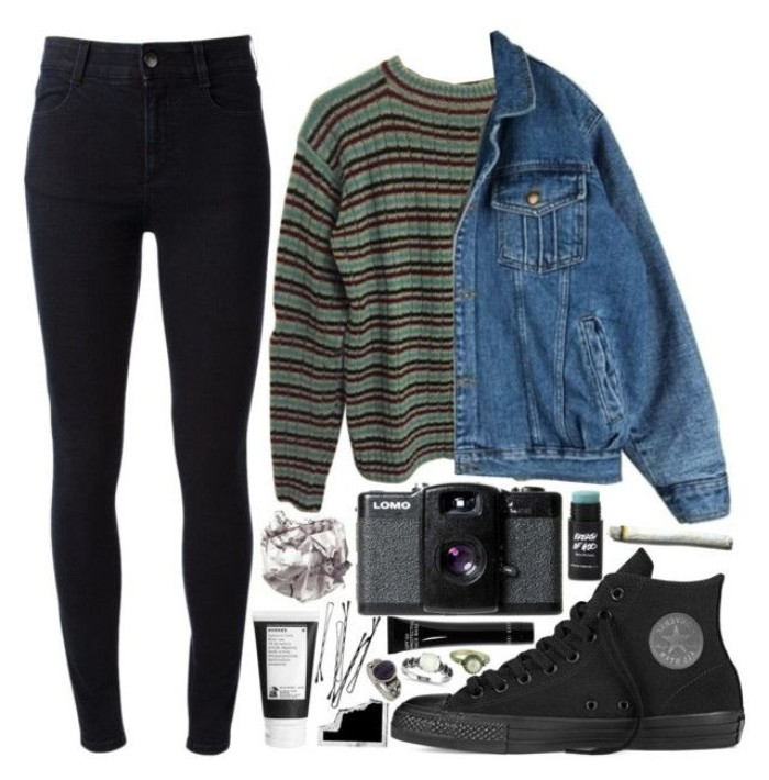converse sneakers in black, black skinny jeans, striped jumper and an oversized, blue denim jacket, vintage camera and various accessories