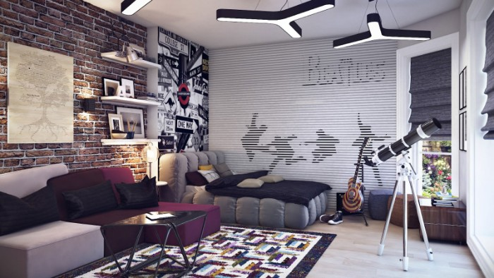 cute teen rooms, beatles wallpaper in grey and black, covering one wall, of a large room, bed and sofa, telescope and electric guitar