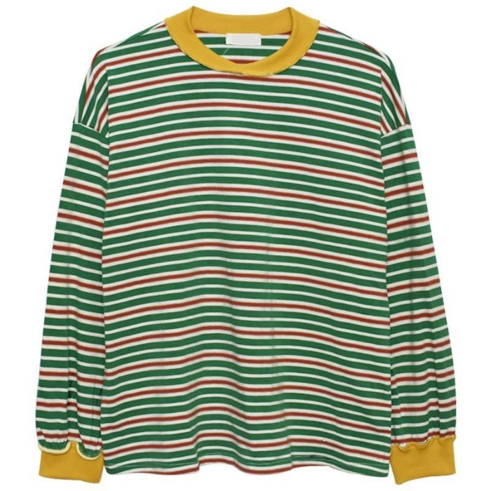 jumper with green, white and red stripes, featuring yellow collar and cuffs, on a white background, 90s grunge clothing, iconic key items