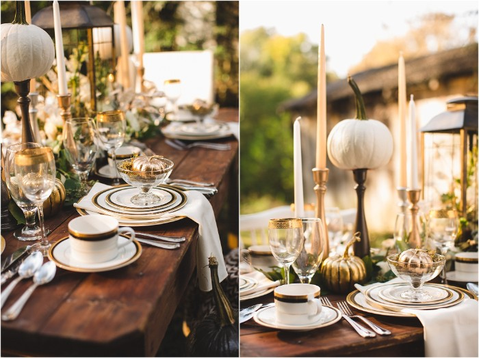 two photos showing a dark brown wooden table, with gold-rimmed plates and cups, and silver cutlery, decorated with tall candles, and white and gold pumpkin ornaments
